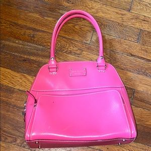 Kate Spade pink leather satchel bag purse domed